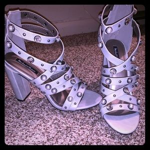 Shoes - Grey studded heels never worn